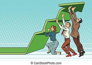 Equipo de negocios elevando el gráfico de crecimiento
