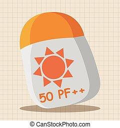 Equipo de playa, elementos de pantalla solar
