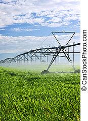 Equipo de riego en la granja