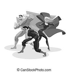 Equipo de superhéroes. Mira a tu alrededor. Prepárense