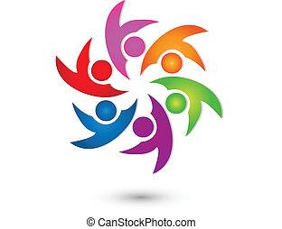 Equipo de trabajo del grupo feliz vector de logotipo