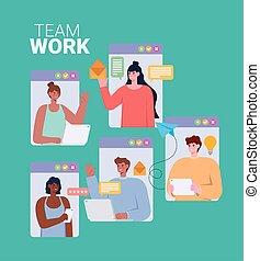 equipo de trabajo, en línea