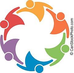 Equipo de trabajo grupo de 6 personas en un círculo. Concepto del sindicato