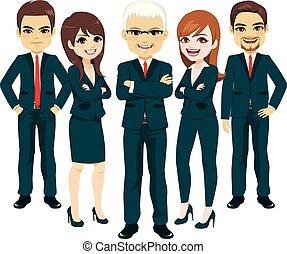 Equipo de traje azul de negocios