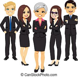 Equipo de traje negro de negocios