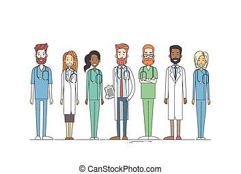 equipo, delgado, trabajo de grupo, línea, doctors, medial