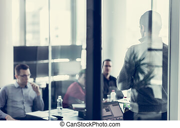 equipo, empresa / negocio, líder, presentación, entregar, oficina.