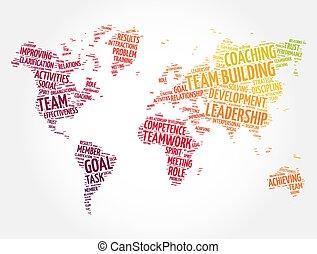 equipo, empresa / negocio, mapa, concepto, nube, forma, palabra, mundo, plano de fondo, edificio