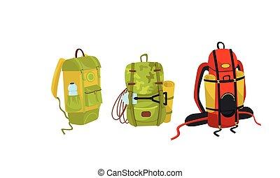 equipo, excursionismo, vector, o, campamento, conjunto, engranaje, mochila