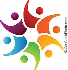 Equipo Feliz 6 personas imagen logotipo