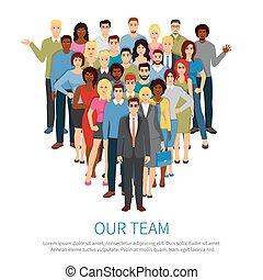 equipo, gente, profesional, plano, cartel, multitud