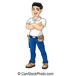 equipo, herramienta, brazos, cinturón, factótum, cruz