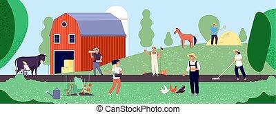equipo, life., trabajo, orgánico, agricultura, ilustración, vector, naturaleza, granjero, trabajadores, agricultura, agrícola, plano