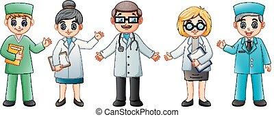 Equipo médico aislado en el fondo blanco. Doctor y enfermera