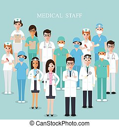 Equipo médico del hospital. Ilustración del vector médico