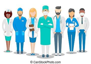 Equipo médico. Ilustración de vectores del hospital