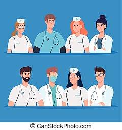 equipo médico, personal, doctors, enfermeras