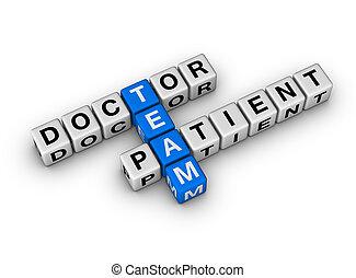 Equipo médico y paciente