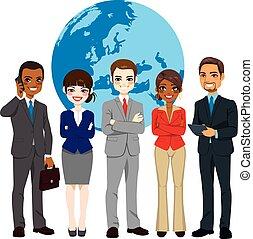 Equipo multi-etnico global de empresarios