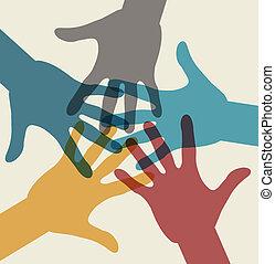 equipo, multicolor, símbolo., manos