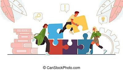 equipo negocio, trabajando, rompecabezas, conectar, juntos