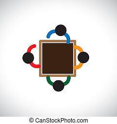equipo, o, interactivo, iconos de la oficina, graphic-, trabajadores, meeting., ilustración, empleador, otro, discusión, cada, people(executives), exposiciones, disposición, personal