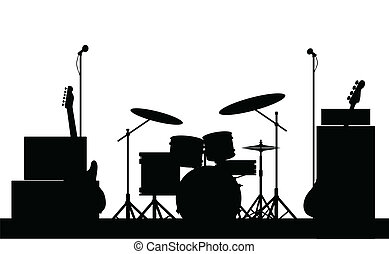 equipo, roca, silueta, banda