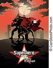 Equipo Superhéroe, equipo de superhéroes, posando frente a una luz.
