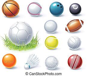 equipo, vector, deporte, iconos