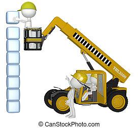 Equipos de construcción, gente construyendo cubos