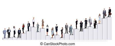 Equipos de negocios y diagramas. Aislado sobre fondo blanco