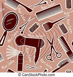 Equipos de peluquería sin manchas. Profundidad del vector