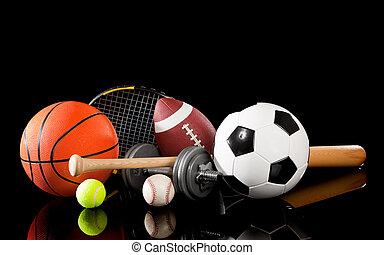 Equipos deportivos variados en negro