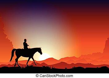 equitación, anochecer, vaquero, caballo