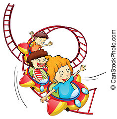 equitación, barco de cabotaje, tres, rodillo, niños
