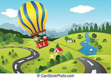 equitación, caliente, niños, globo, aire