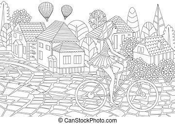 equitación, colorido, niña, dulce, pueblo, moda, libro, bicicleta, su