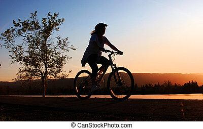 equitación, mujer, bicicleta