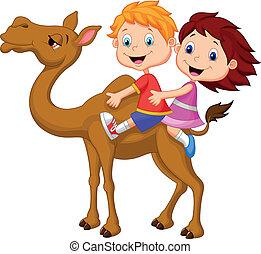equitación, niña, camello, niño, caricatura