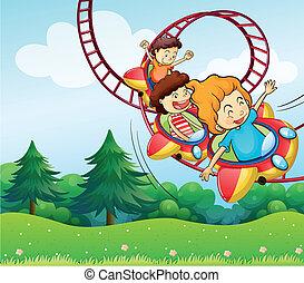 equitación, niños, barco de cabotaje, tres, rodillo