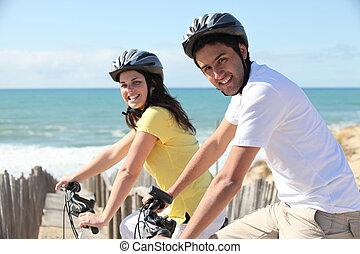 equitación, pareja, joven, seafront