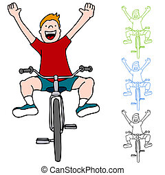equitación, sin, bicicleta, manos
