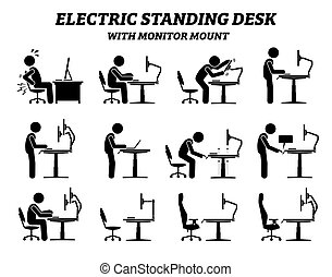 ergonómico, monitor, eléctrico, posición, monte., escritorio, tabla
