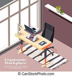 ergonómico, plano de fondo, lugar de trabajo, isométrico