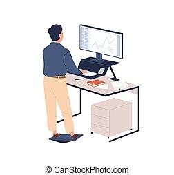ergonómico, plano, tabla, vector, illustration., atrás, empleado, muebles, regular, monitor, estación de trabajo, posición, reposapiés, isolated., personal, contemporáneo, trabajando, mirar, hombre, macho, moderno, computadora