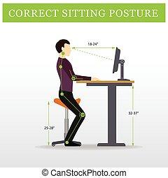 Ergonómico. Silla de silla y mesa ajustable