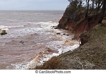 erosión, acantilado