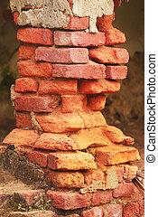 erosionado, ladrillo, estructura