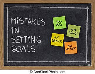 errores, metas ponientes