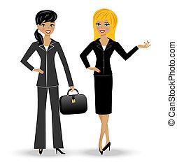 esbelto, mujer, dos, empresa / negocio